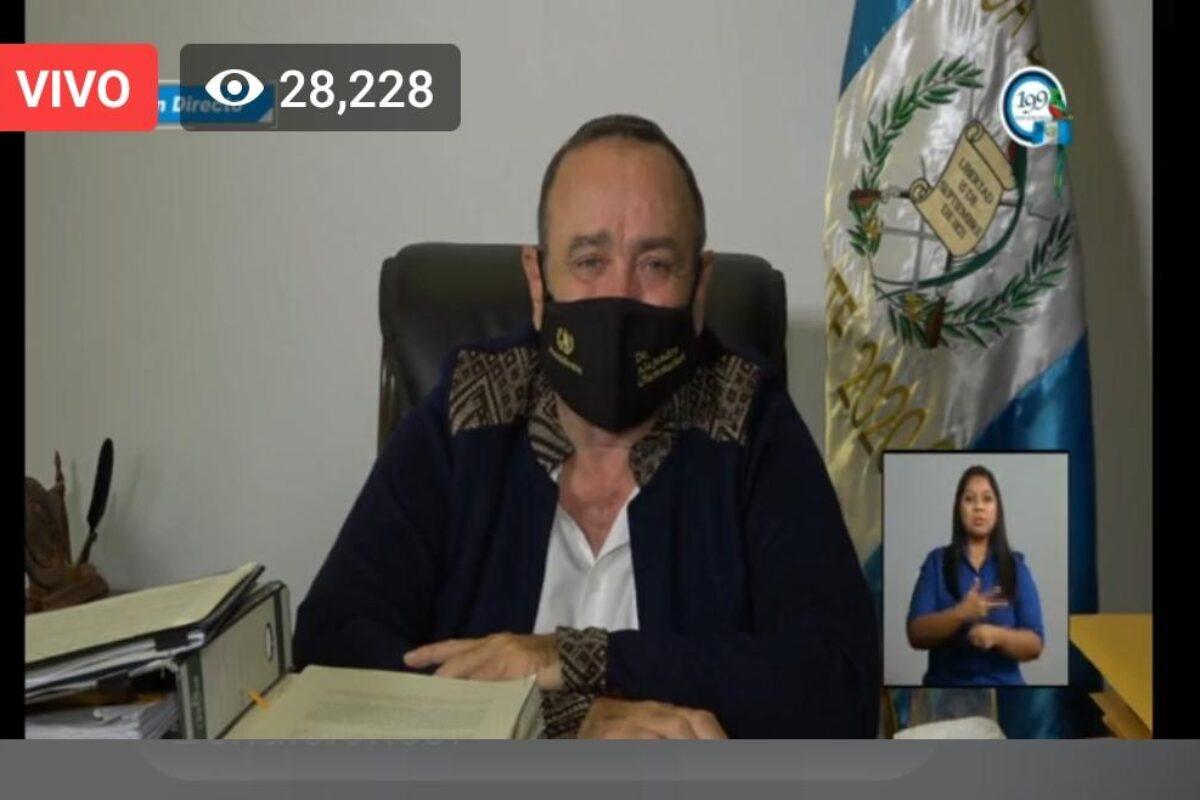 Giammattei asegura estar recibiendo asistencia del Hospital San Juan de Dios